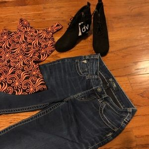 WHOLE OUTFIT Silver Jeans + Peplum Tank + Booties!